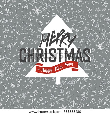 Merry Christmas Greeting Card on White Xmas Hand Drawn Background - stock vector