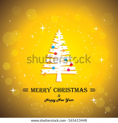 Merry christmas greeting card poster & xmas tree - concept vector. This abstract graphic contains decorated Christmas tree with x-mas lights, bokeh & stars in the background & happy new year greetings - stock vector