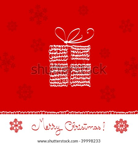 merry christmas greeting card- present box, vector knitted ornaments