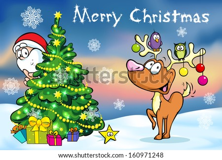 Merry Christmas greeting card, santa claus hidden behind e tree and reindeer vector illustration  - stock vector