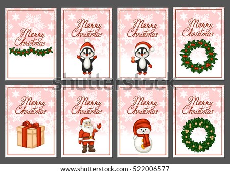 Merry Christmas greeting card set. Vector illustration.