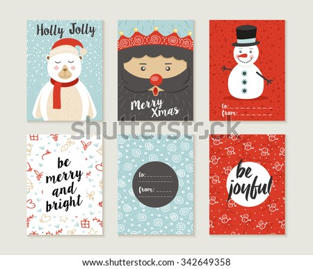 Merry Christmas greeting card set with cute polar bear, santa elf and snowman retro designs. Includes holiday themed seamless patterns. EPS10 vector. - stock vector