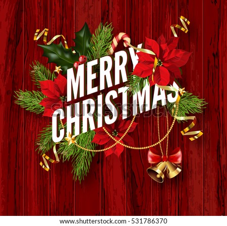 Merry Christmas Greeting Card Template Design Stock Vector - Christmas greeting card template
