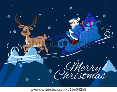 Merry Christmas greeting card template. Santa Claus and the deer. Vector flat illustration for Christmas design. - stock vector