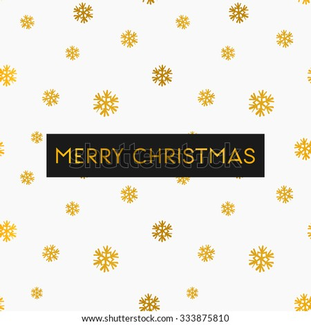 Merry Christmas greeting card template. Seamless pattern with gold snowflakes on white background. - stock vector