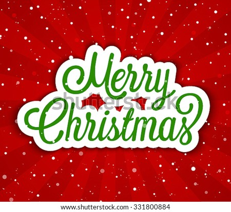 Merry Christmas greeting card. Vector illustration. - stock vector