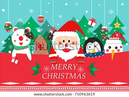 Merry christmas greeting card vector santa stock vector 750963619 merry christmas greeting card vector santa clause and friend reindeerpenguinbear m4hsunfo