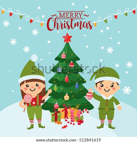 Merry christmas greeting card cute kids stock photo photo vector merry christmas greeting card with a cute kids kids in costumes of elves christmas m4hsunfo Images