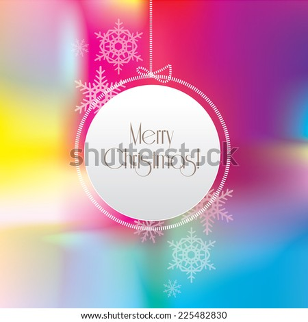 Merry Christmas greeting card with abstract bright shiny colorful mesh background- white hanging ornament with snowflakes - stock vector