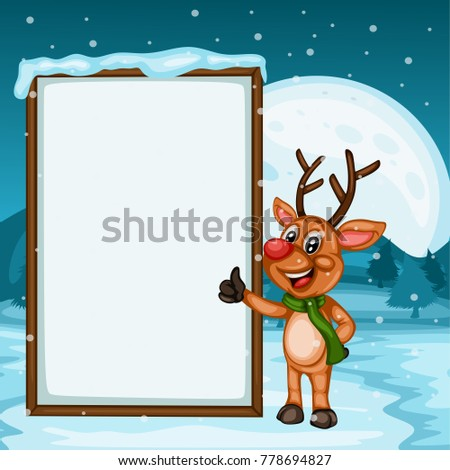 Merry Christmas Greeting Card with Banner for Text. Cheerful Reindeer Showing Thumb Up