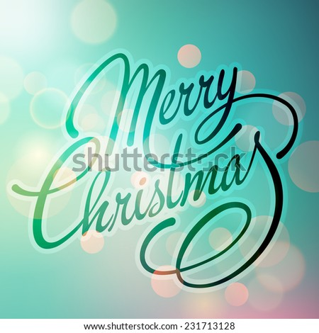 Merry Christmas greeting card with bokeh and text - stock vector