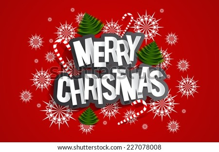 Merry Christmas Greeting Card With Candy Canes, Christmas Trees And Stars vector illustration - stock vector