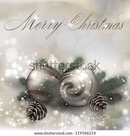 Merry Christmas greeting card with Christmas balls. Vector eps10 illustration - stock vector