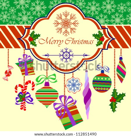Merry Christmas Greeting Card with Christmas Objects on Light Yellow Background, Vector Illustration