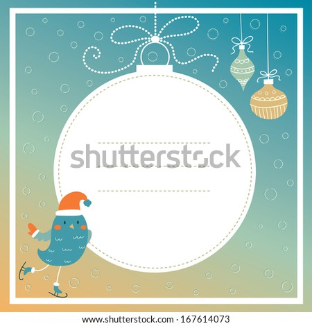 Merry Christmas. Greeting card with cute bird