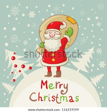 Merry Christmas greeting card with cute Santa and a sack of presents on forest and snowflakes background
