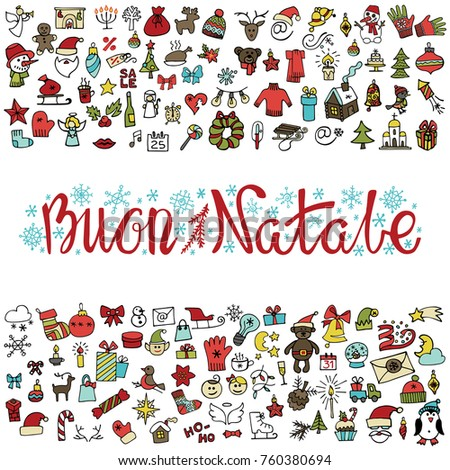 Merry Christmas.Greeting card with doodle icons set. Buon Natale italian handwriting  titles. Decorative elements for winter holidays.Design template.Hand drawing sketch.Colored Vector.Vintage
