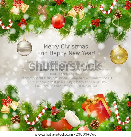 Merry Christmas greeting card with gift boxes, holy berries, Christmas balls, fir branches, candies and other Xmas decorations. Vector eps10 illustration - stock vector