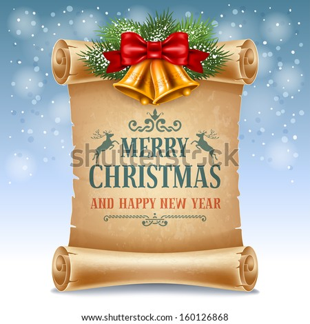 Merry Christmas greeting card with golden jingle bells and old scroll paper - stock vector