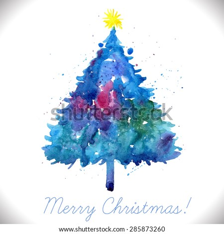 Merry Christmas greeting card with hand painted blue watercolor tree. - stock vector
