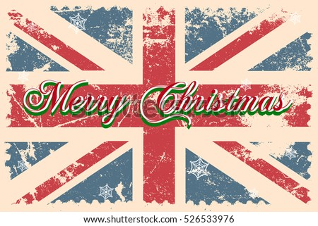 Merry christmas greeting card lettering snowflakes stock vector merry christmas greeting card with lettering and snowflakes on a great britain grunge flag with distressed m4hsunfo