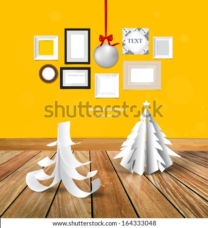 Merry Christmas greeting card with origami Christmas tree, Christmas ball and picture frames, photo art gallery on yellow wall. Vector EPS10 - stock vector