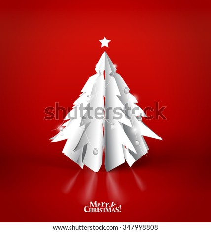 Merry Christmas greeting card with origami Christmas tree, vector illustration. - stock vector