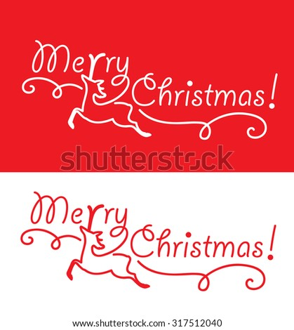 Merry Christmas greeting card with reindeer.  - stock vector