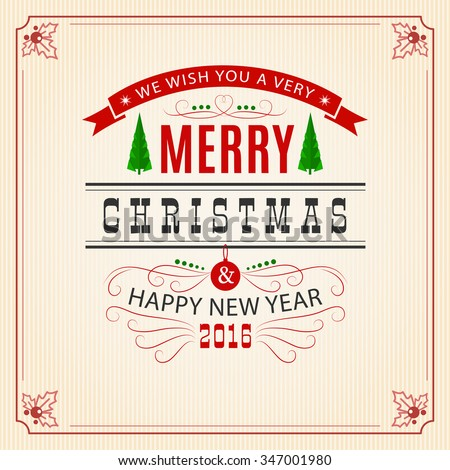 Merry Christmas greeting card with retro background and decorative frame. Merry christmas and Happy new year 2016 wish message. Vector typography design