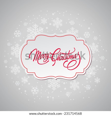 Merry Christmas greeting card with retro label - stock vector