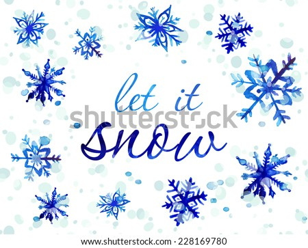 Merry Christmas Greeting Card with snowflake. Winter holiday design. Vector illustration. - stock vector