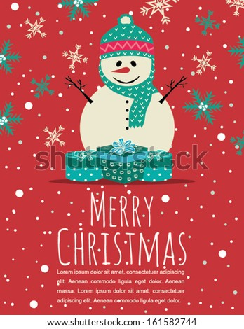 Merry Christmas Greeting Card with Snowman and SnowFlakes on Red Background - stock vector