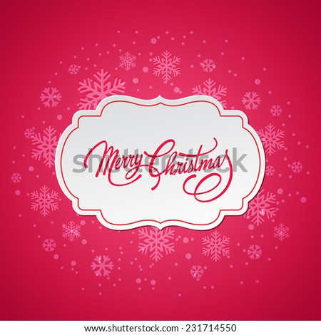 Merry Christmas greeting card with vintage frame - stock vector