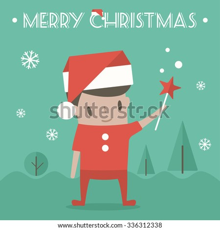Merry Christmas greeting card with young boy. Outdoor vector illustration. Flat design - stock vector