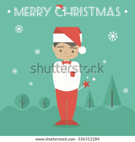 Merry Christmas greeting card with young man. Outdoor vector illustration. Flat design - stock vector