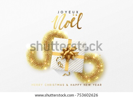 Merry christmas greeting card xmas holiday stock vector 753602626 merry christmas greeting card xmas holiday background gift box with gold tinsel french m4hsunfo