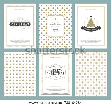 Merry christmas greeting cards templates patterns stock vector merry christmas greeting cards templates and patterns backgrounds with place for christmas holidays wish typographic m4hsunfo Gallery