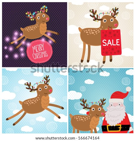 Merry Christmas greeting cards with deer.  Holiday vector illustration - stock vector