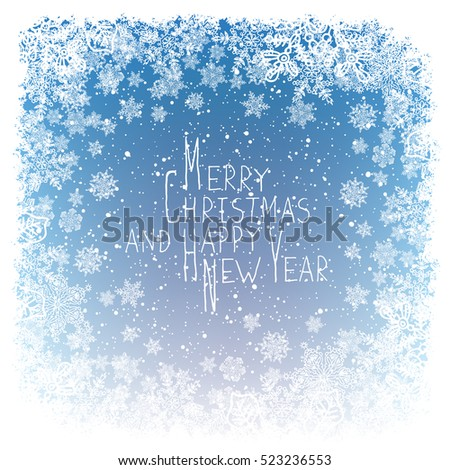 Merry Christmas Greeting. New Year Postcard Design. Frost ornament border and snowflakes. Blue winter snowfall background