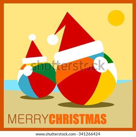 merry christmas greeting with beach balls wearing Santa hats - stock vector