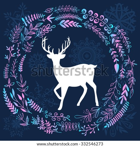 Merry Christmas greetings illustration. Happy new year invitation card. Vector illustration with deer and forest leaves