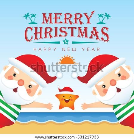 Merry christmas greetings cute cartoon santa stock vector 2018 merry christmas greetings of cute cartoon santa claus wearing tank top short pants slipper m4hsunfo