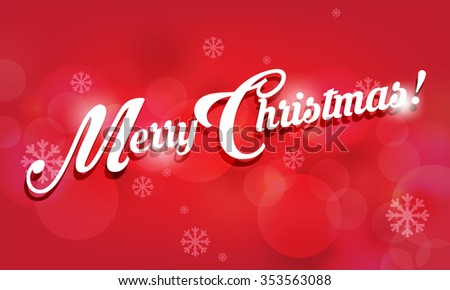 Merry Christmas greetings, red background with snowflakes elements, eps10 vector - stock vector