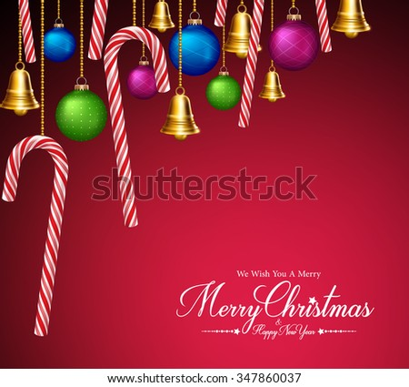 Merry Christmas Greetings with Decorations and Elements Hanging in Red Background. Vector Illustration