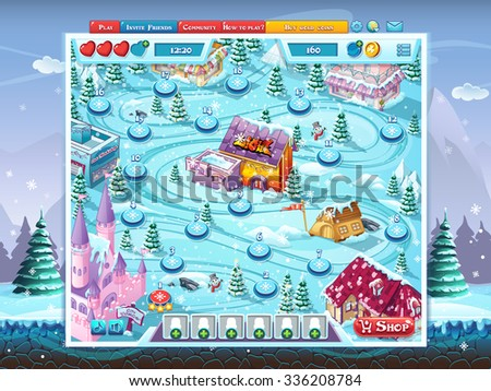 Merry Christmas GUI - map playing field window background - stock vector