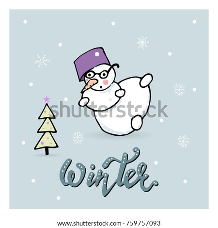 Merry Christmas Hand Draw Greeting Cards With Snowman
