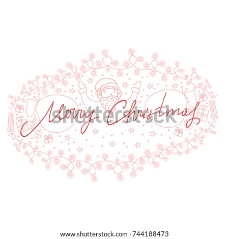 Merry Christmas Hand Drawn Christmas Lettering Stock Vector