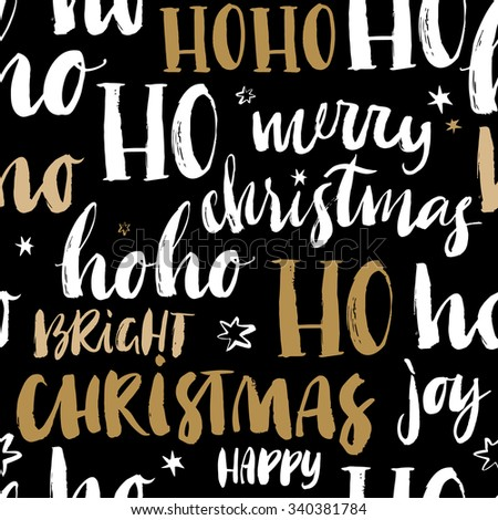 Merry Christmas hand drawn seamless pattern with calligraphy. Handwritten modern brush lettering. Dry brush and rough edges ink doodle illustration. Abstract vector background - stock vector