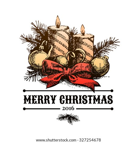 Merry Christmas hand drawn sketch background. Happy New Year card. Vector illustration - stock vector