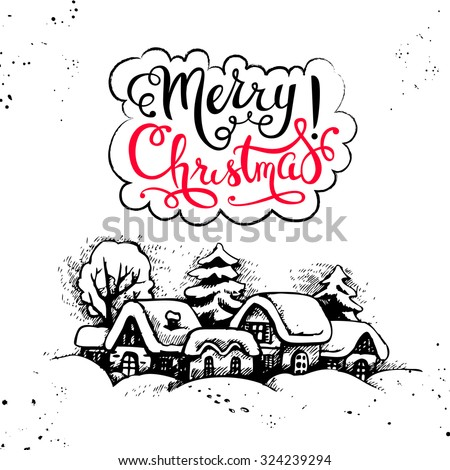 Merry Christmas hand drawn sketch vintage background. Happy New Year card. Vector illustration - stock vector
